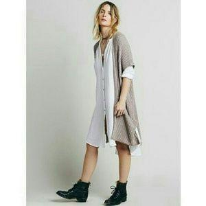 Free People Sloppy Pocket Knit Vest Brown